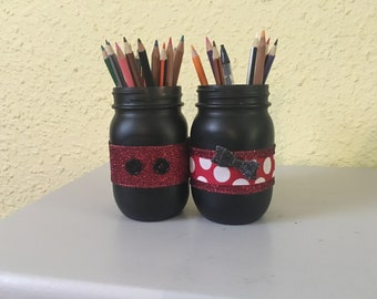 disney office decor. mickey and minnie mason office pencil jars disney decor kids desk k