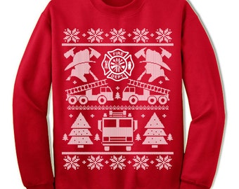 Firefighter Christmas Gift.  Firefighter Ugly Christmas Sweater Sweatshirt. Firemen Gifts.