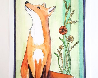 FOX AND FLOWERS watercolor fine art print