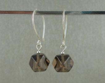 Free UK P&P 925 Sterling Silver Smokey Quartz Earrings