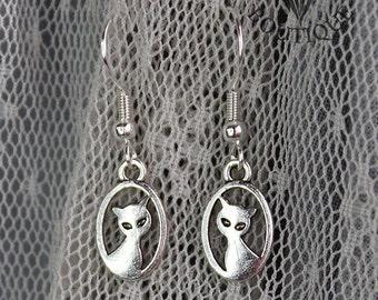 Cute cat, drop earrings in antique silver finish (Code ESP007)