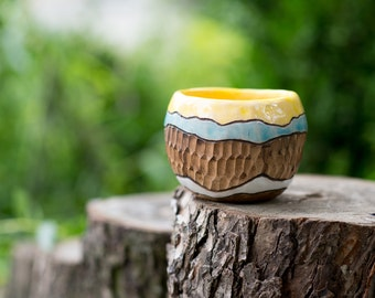 Handmade bowl Yellow bowl Ball bowl 250 ml bowl Decorative bowl Eco bowl Plain bowl Sister gift Crockery Glazed pottery