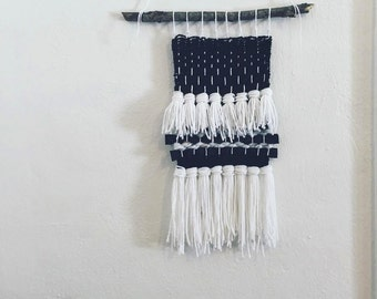 black and white handwoven small wall hanging