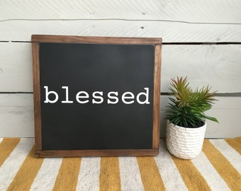 Blessed Sign, Wooden Sign, Wood Sign, Rustic Decor, Farmhouse Decor, Painted Sign, Sign with Words, Housewarming Gift, Gallery Wall