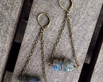 Bohemian Labradorite Chandelier Brass Earrings