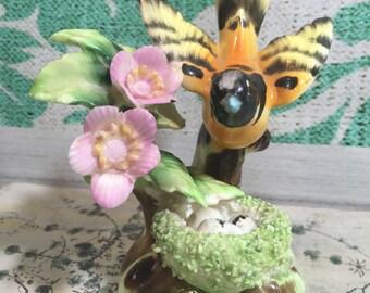 Vintage Erich Stauffer Bird Figurine, Bird Decoration, Bird and Flower Figurine, Porcelain Bird, China Bird, Sparrow Figurine