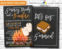 Let's Get S'mored Invitation, S'mores & Bonfire Party Invitation, Engagement Party, Couples Shower Invitation, Adult Birthday Party
