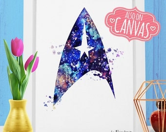 Star Trek Wall Art Canvas, Starfleet Insignia Art Prints Wall Decor, Watercolor Art Canvas Print Poster, Kids Room Nursery Decor Girl Gift