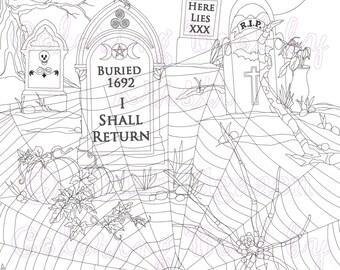 The Graveyard zoom, Fantasy Art, Adult Coloring Page, Coloring pages, Digital Download, Coloring by Kristi