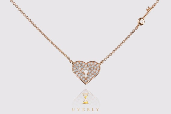 14k Solid Real Yellow White Rose Pink Gold Key From the Heart Diamond 0.20ct Women's Chain Necklace 16 inches