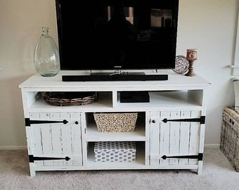 Rustic Media Console, Farmhouse Distressed TV Stand