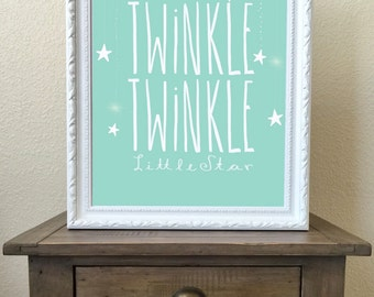 Twinkle Twinkle Little Star, Nursery Wall Art, DIGITAL DOWNLOAD, 16x20 PRINT, Nursery Decor, mint nursery