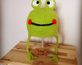 Frog Crochet Childs Hat 'Ribbit'
