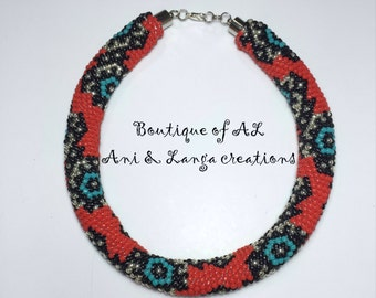 Crochet bead necklace, Handmade Necklace, Red necklace, Gift for her