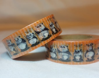 SALE- Washi Tape/ Craft Tape- Orange Stripes with Pandas