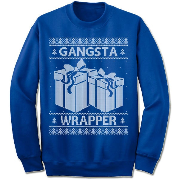 Gangsta Wrapper Ugly Christmas Sweater. Funny Christmas