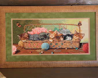 Stitch work ''Sleeping cats'' embroidery stitchery cross-stitch work needle stitched point de croix вышивка крестом гобелен