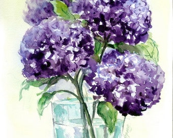 8x10 ORIGINAL Watercolor Hydrangea Painting Purple Flower Floral Still Life Decor for Her Wall Art