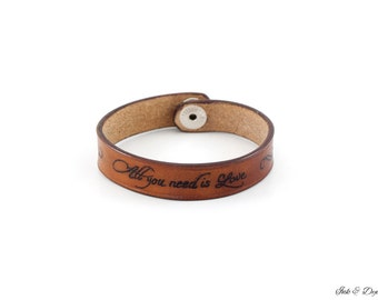 "Tattooed Leather Bracelet -- ""All you need is Love"" -- Custom leather Bracelet"