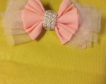 Shabby Chic Light Pink & Pearl Bow