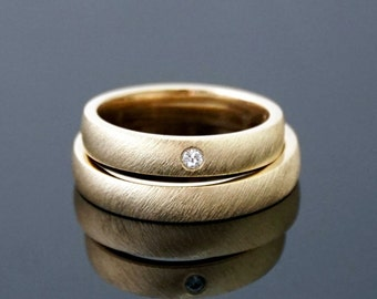 BRUSHED wedding rings & DIAMOND Gold 8 k or 14 k