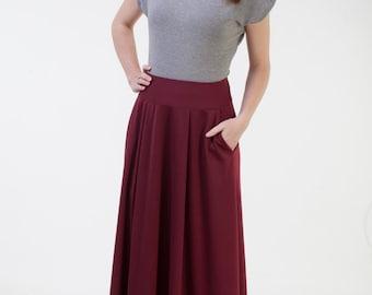 Burgundy long skirt with pockets Maxi burgundy skirt Office skirt Burgudny autumn winter skirt Long jersey skirt Floor lenght skirt