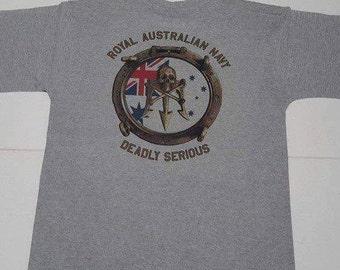 ROYAL AUSTRALIAN NAVY  T-shirt Deadly Serious design Grey cotton