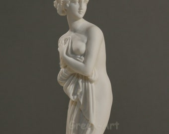 Greek Famous Hetaira Courtesan Phryne Alabaster Statue Sculpture Handmade 9.8in - 25cm **Free Shipping & Free Tracking Number**