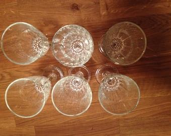 Cut Crystal (set of 6)  Stemware, Wine Glasses, Wedding Gift, Cut Glass, Glass Set