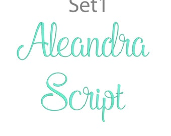 5 Size Aleandra Script Font Embroidery Fonts BX Set1  9 Formats Embroidery Pattern Machine BX Embroidery Fonts PES