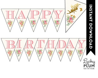 Fairy Banner / Fairy Bunting / Garden Banner / Flower Banner / Pixie Banner / Pink Gold Banner / DIY Printable FY01
