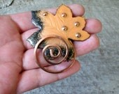 signed Matisse Renoir brooch . vintage copper enamel leaf brooch with copper swirl pin . 1950s jewelry, Maple leaf pin