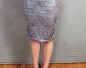 MADE TO ORDER Silver Metallic Lace Print Stretch Pencil Skirt
