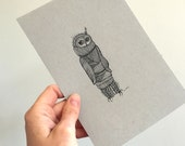 Owl Illustration Original Drawing Art No. 73 - ink on toned paper neutral colors - affordable art OOAK grey gray