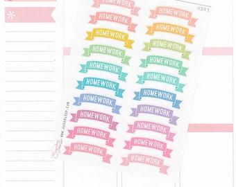 20 Homework, header stickers, banner, study, school, college, university, uni, MDN, rainbow, pastel, functional planner stickers, HDR3