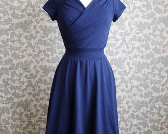 SALE Size LARGE Navy Blue Cotton Dress Sweetheart Crossover stretch Cotton Jersey Short Sleeve Full swing skirt A-line ruched Ready to Ship
