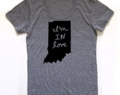 indiana shirt, indiana tshirt, graphic t, state pride, woman fashion t, gray tshirt, screen print, silkscreen, free shipping