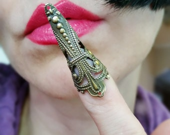 BUY one GET one FREE Filigree nail ring in Antique Gold plate claw Tip armor ring limited time only