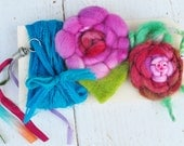 Fiber Art - Textile Embellishment Set - Handmade Wool Flowers, Chiffon Ribbon, Silk Tassel
