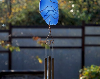 Wind Chime Glass and Copper with Brass Chimes, stained glass, sea glass, beach glass windchimes