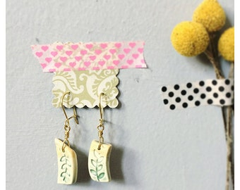 Ceramic drop earrings - ceramic jewelry - brass nickel free earrings - gift for mom sister gift for bff Valentine's Day present