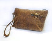 Brown Leather Zipper Pouch Wristlet with Antique Key - Embossed Reptile Floral Clutch