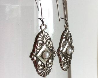 Vintage Art Deco Rhodium Silver Earrings - Seed Pearl, Shell Fan Shapes, Scalloped Edges, Square with Half Pearl - 20s French Ear Wires