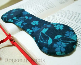 Chickadee Book Weight - Cyan Birds on Dark Blue - Aqua and Blue Flowers - bookweight page holder