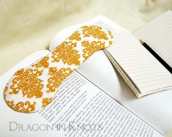 Damask Book Weight - Mustard and White - Book Opener - handmade bookweight page holder bookmark paperweight