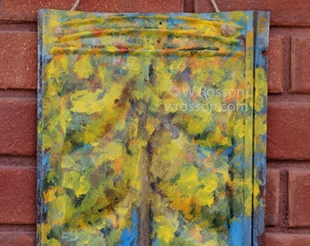 Tree, Blue Sky,  Painting,  Tin Roof Shingle, Original Art,  Winjimir, Gift, Old, Rusted,  Rustic, Pioneer, Home Decor, Porch, Patio, Art