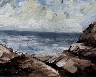 Ocean, Cliffs, Stormy Sea, Fence, Original Painting, Seascape, Landscape, Sea, Clouds, Small Painting, 5x7, Winjimir, Wandering, Seaside,