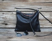Convertible Black Leather Zipper Clutch / Cross Body Bag / Fold Over Clutch  / Tablet Sleeve / Ipad Case / Feral Empire / Small Purse