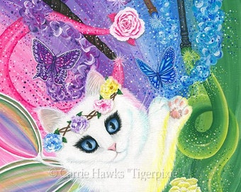 White Fairy Cat Painting Springtime Magic Rainbow Tarot 4 of Wands Whimsical Cat Art Limited Edition Canvas 11x14 Cat Lovers Art