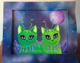 Alien Cats Art Original Cat Painting Space Cats Green Alien Cat Big Eye Art Original Cat Art Painting Art For Cat Lover